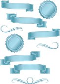 Shiny Banners, Ribbons, Stickers Set: Light Blue Metallic Satin
