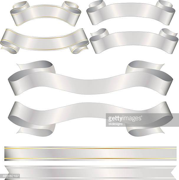shiny banners, ribbons, stickers set: silver, gold metallic satin - silver metal stock illustrations, clip art, cartoons, & icons