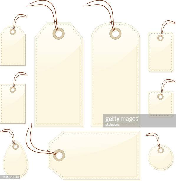 shiny beige stitched gift or price tags, labels, luggage id - luggage tag stock illustrations, clip art, cartoons, & icons