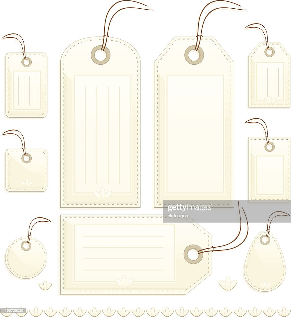 Shiny Beige Stitched Gift, Price or Luggage Tags, Labels : stock illustration