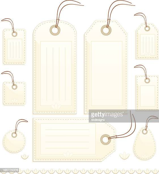 shiny beige stitched gift, price or luggage tags, labels - luggage tag stock illustrations, clip art, cartoons, & icons