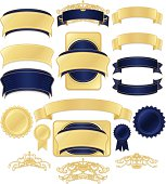 Shiny Blue Satin, Metallic Gold Ribbons, Stickers, Labels, Banners Set