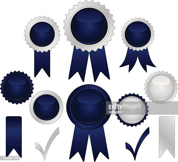 Shiny Blue, Silver Seals and Stickers Set