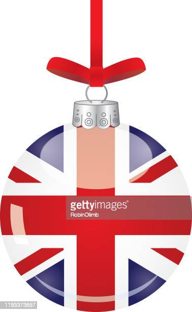 shiny british flag christmas ornament - patriotic christmas stock illustrations