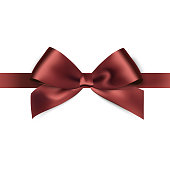Shiny brown satin ribbon on white background