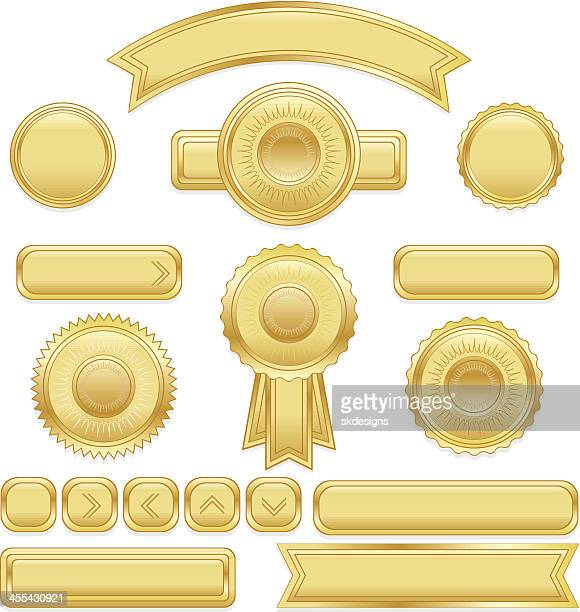 shiny buttons, ribbons, stickers, placards set: gold metallic satin - award plaque stock illustrations, clip art, cartoons, & icons