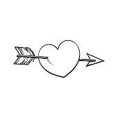shiny cartoon heart pieced by Cupid arrow, love symbol