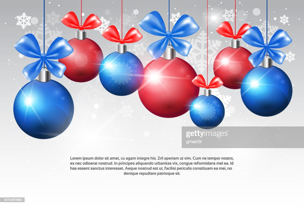 Shiny Christmas Balls With Ribbon Bow On Copy Space Background Holiday Decoration Banner Design