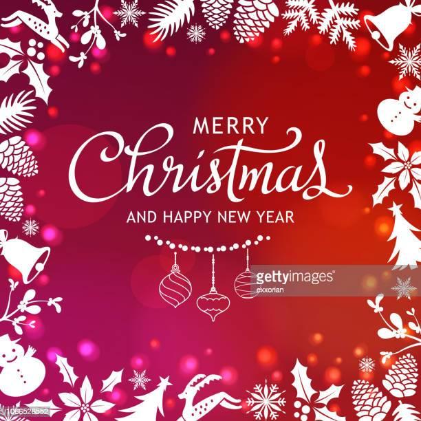 glänzende weihnachten elemente frame - tannenzweig stock-grafiken, -clipart, -cartoons und -symbole