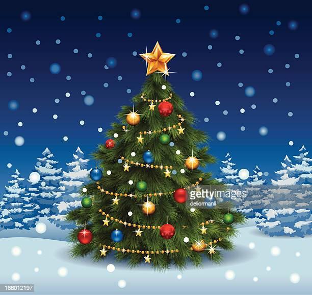 Shiny Christmas Tree On Snow