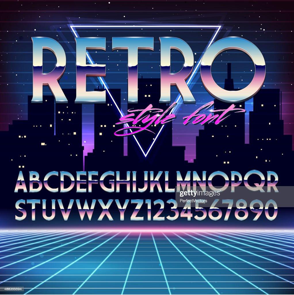 Shiny Chrome Alphabet in 80s Retro Futurism style