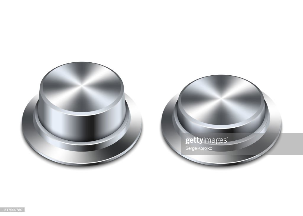 Shiny chrome buttons on a white background