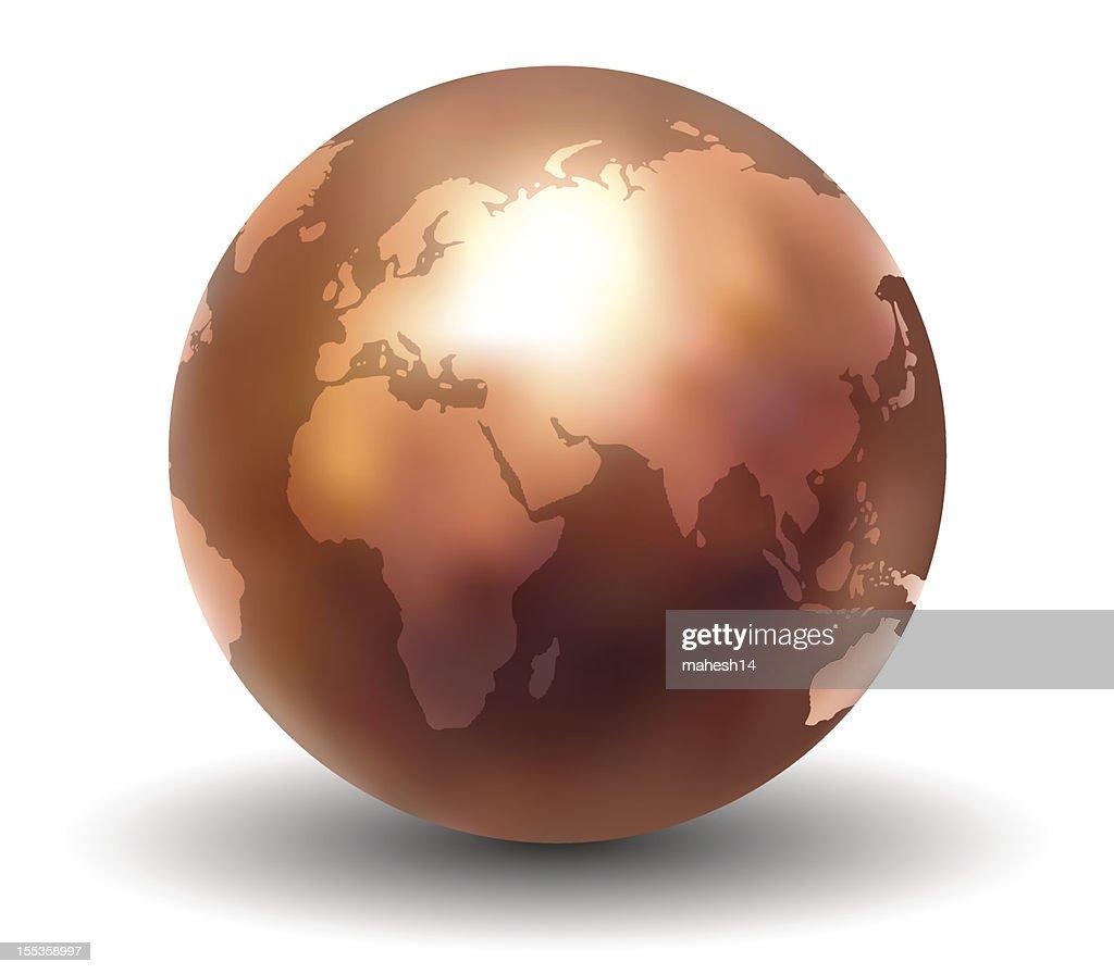 3D Shiny Copper Earth Globe