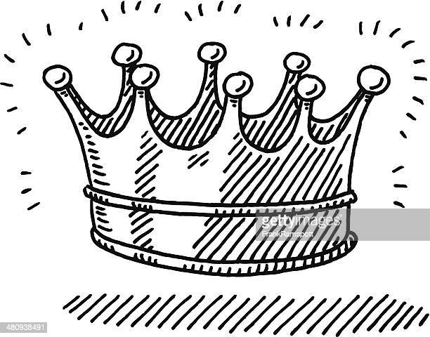 shiny crown symbol drawing - medieval queen crown stock illustrations