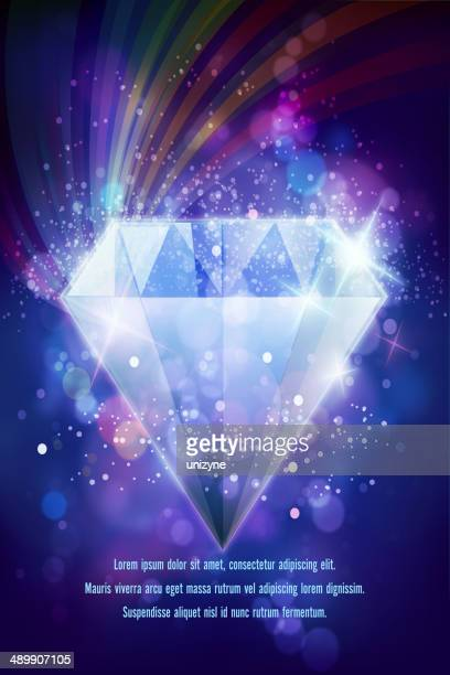 Shiny Diamond on Defocused Background with Sparkle