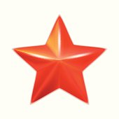 Shiny five-pointed red star. Vector