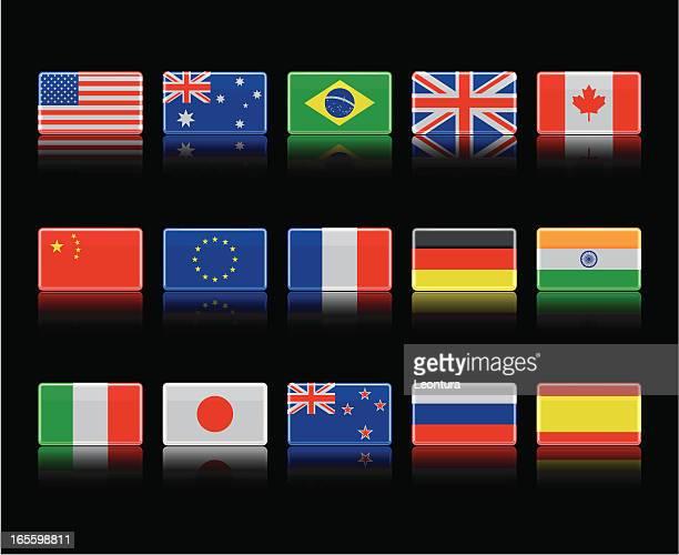illustrations, cliparts, dessins animés et icônes de drapeaux noir brillant - drapeau anglais
