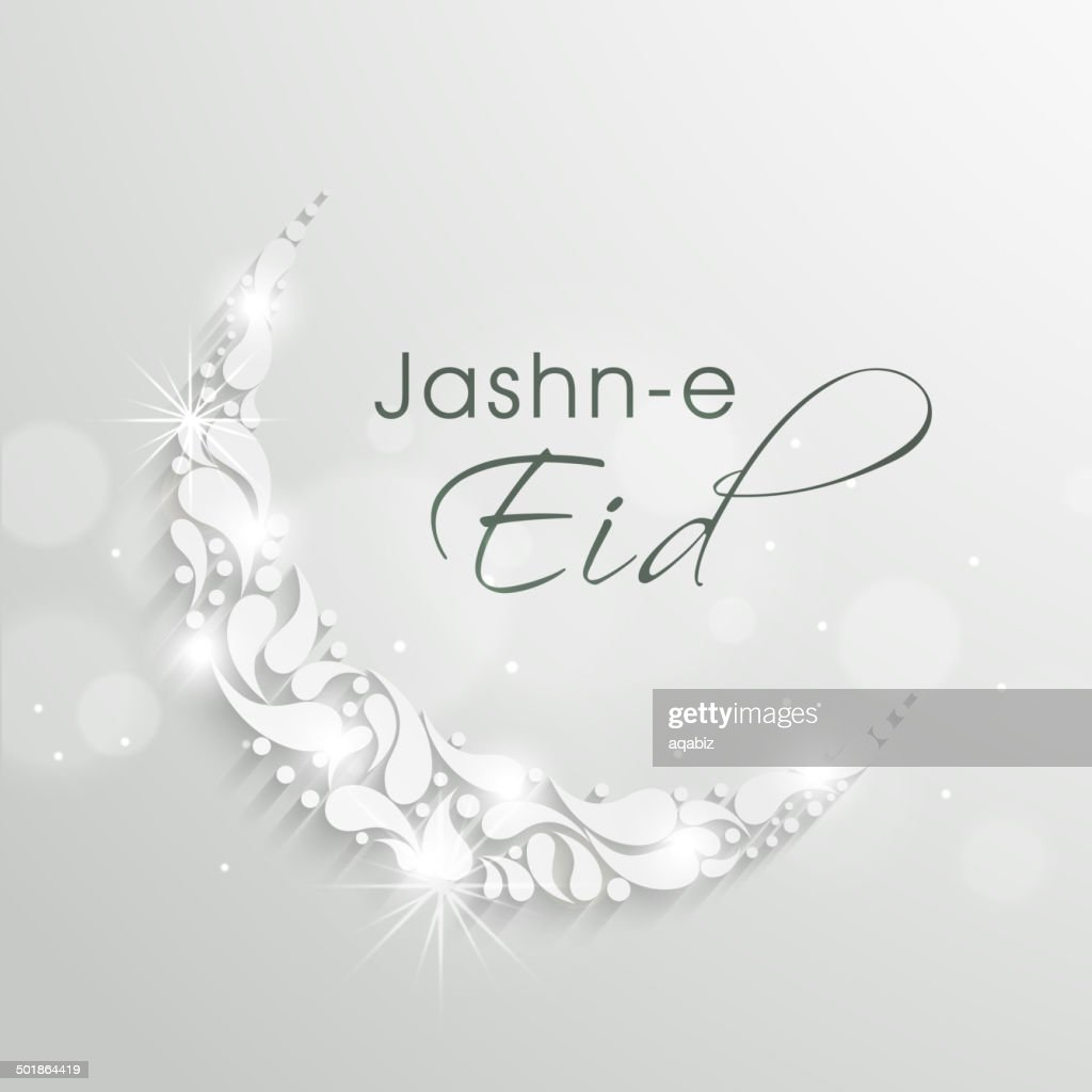 Shiny floral decorated crescent moon with stylish text Jashn-e-Eid.