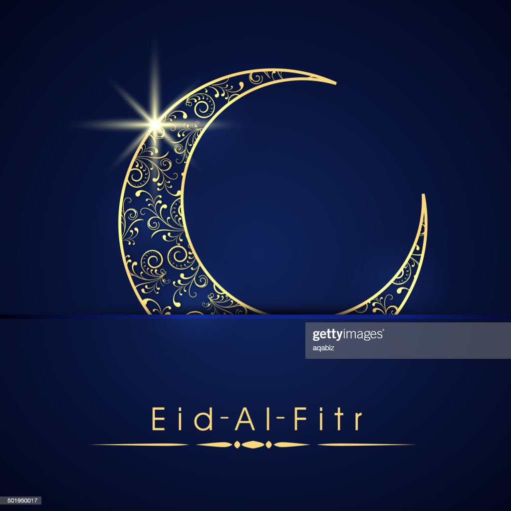 Shiny floral decorated golden crescent moon for Eid festival.