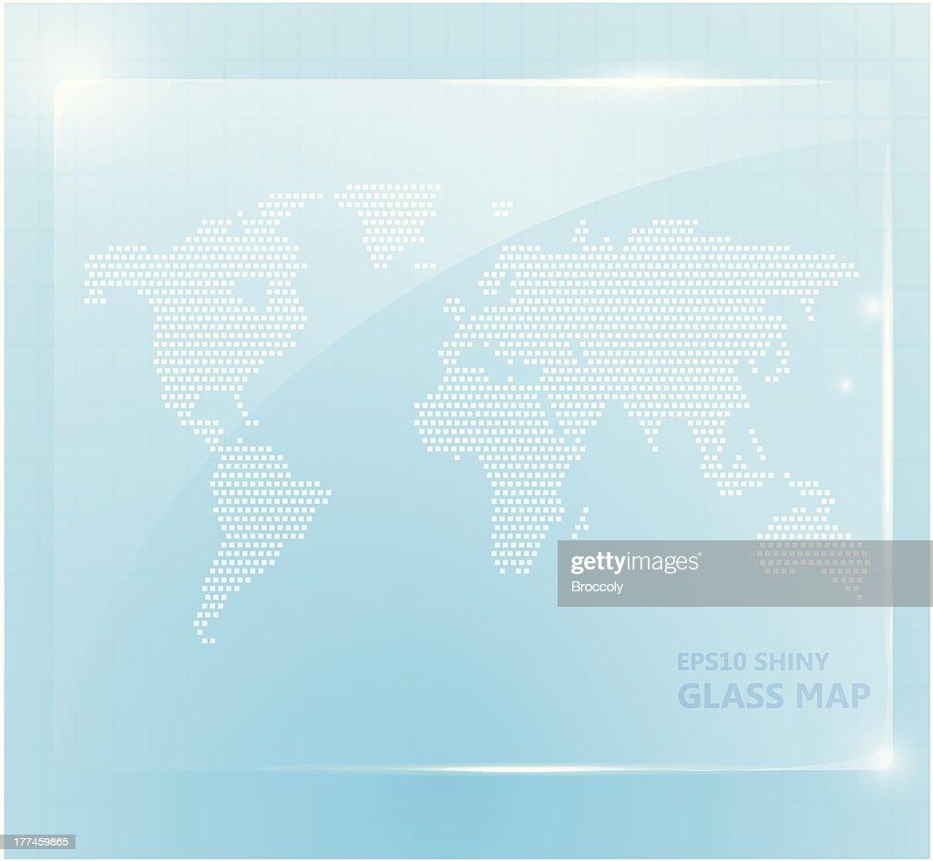 Shiny glass world map wallpaper