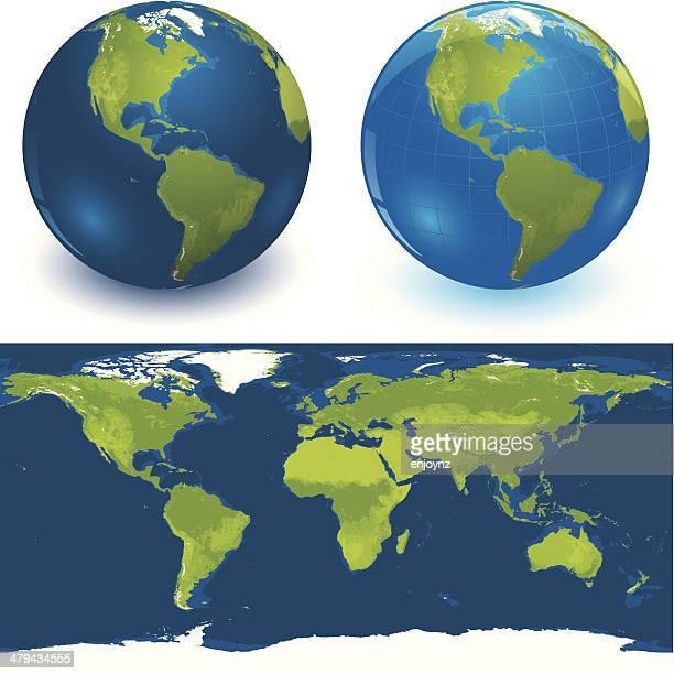 Glänzende Globen und Welt Karte