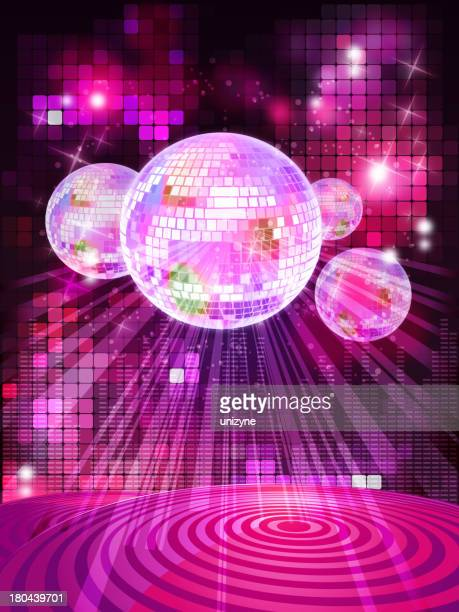 Shiny Glossy Stage with Disco Balls