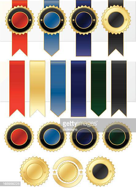 Shiny Gold, Blue, Red, Purple, Green, Black Stickers, Ribbons Set