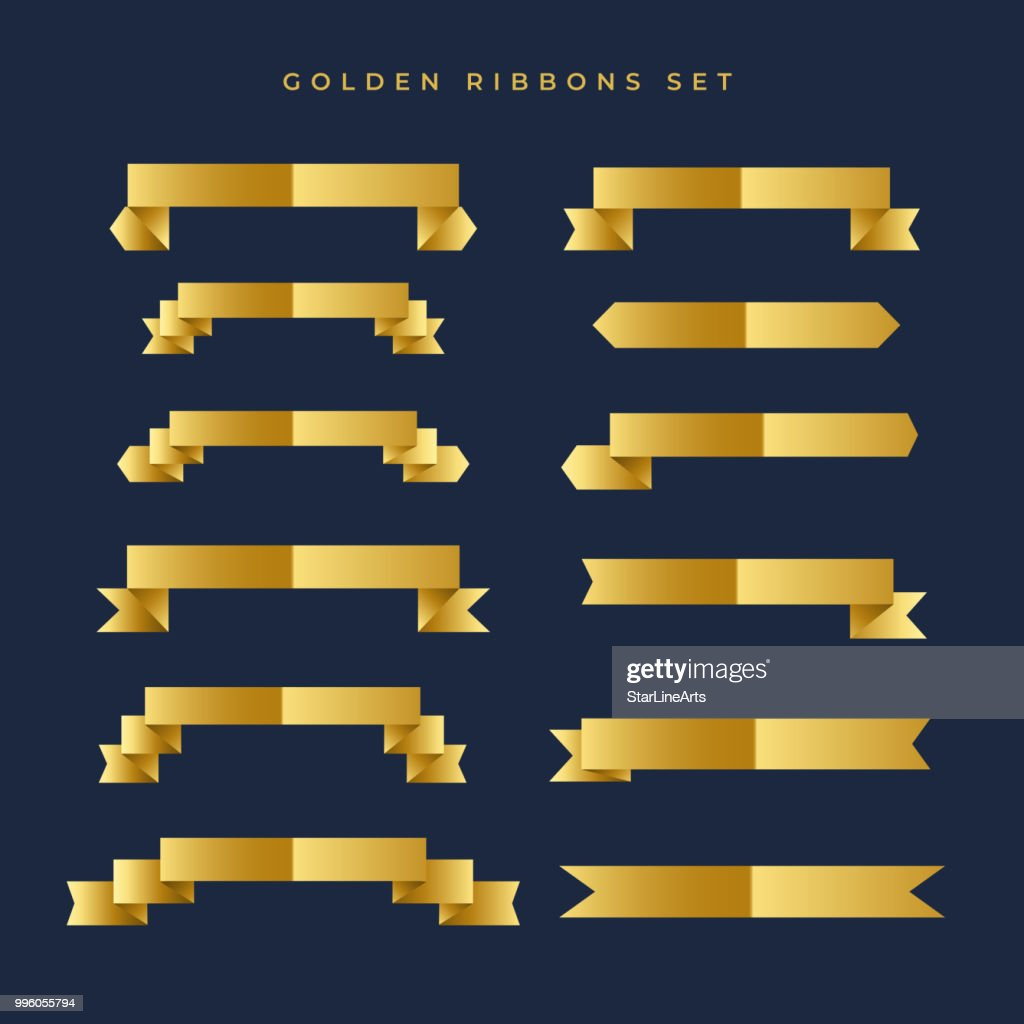 shiny gold color ribbons collection
