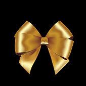 Shiny golden satin ribbon on white background.