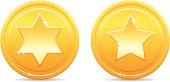 Shiny golden star coins