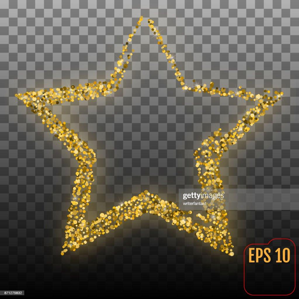 Glänzenden Goldenen Stern Isoliert Auf Transparentem Hintergrund ...