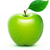 A shiny green apple with a leaf and stalk