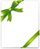 Shiny green satin ribbon on white background