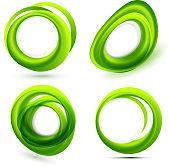Shiny green shapes