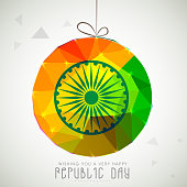 Shiny hanging ball for Indian Republic Day celebration.