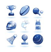 Shiny icon set of various sport related symbols