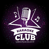Shiny karaoke club vector label design