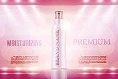Shiny Luxury moisturizing cosmetic advertising banner concept.