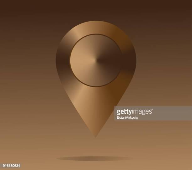 Glänzendes Metall Standort-Symbol. Ordnen Sie Zeiger, braun. Vektor-illustration