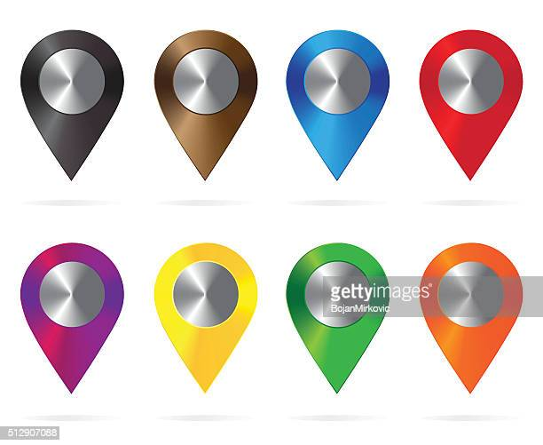 shiny metal location icons colorful. map pointers. round shape - locator map stock illustrations