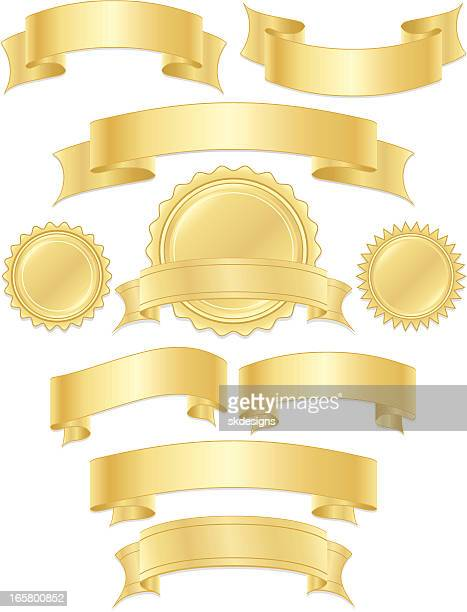 shiny metallic gold ribbons, stickers, banners set - award plaque stock illustrations, clip art, cartoons, & icons