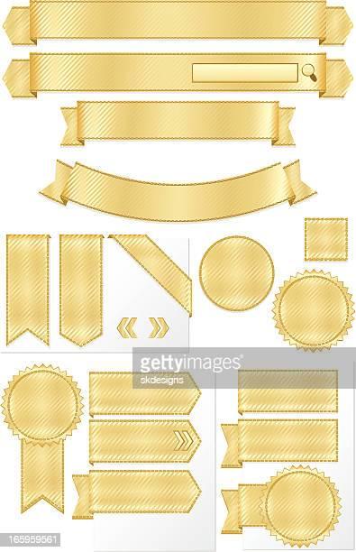 ilustraciones, imágenes clip art, dibujos animados e iconos de stock de brillante oro rayado cintas metálicas, banners set - papel de aluminio