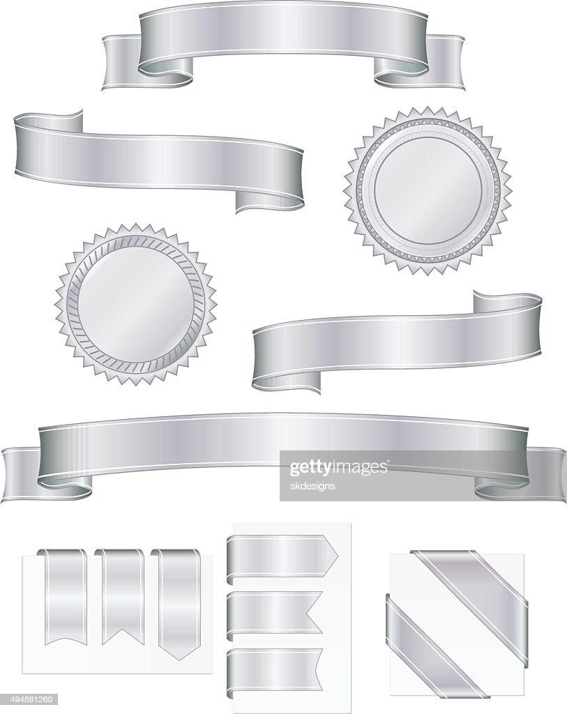 Shiny Metallic Silver Ribbons, Stickers Set