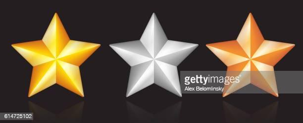 Shiny metallic star designs in gold silver bronze on black