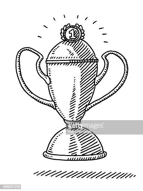 shiny number 1 trophy drawing - competitive sport stock illustrations, clip art, cartoons, & icons
