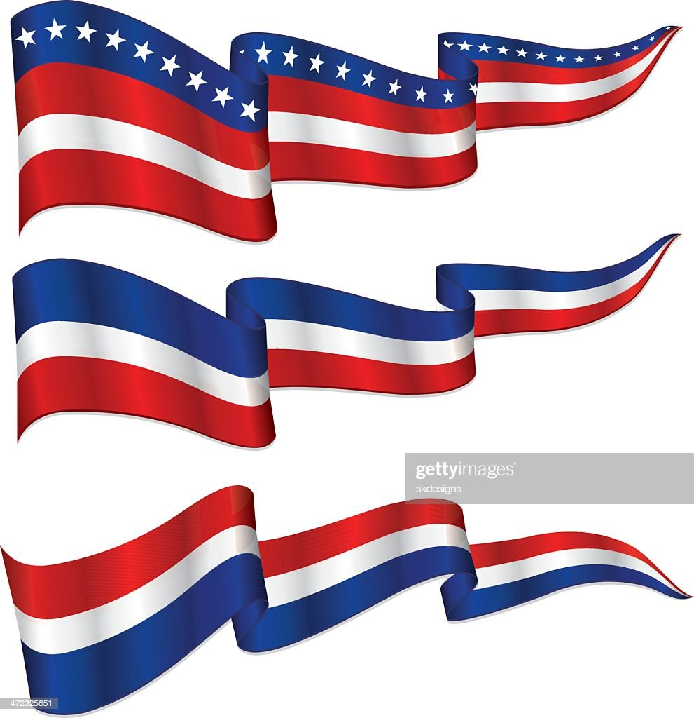 Shiny Patriotic Ribbon Banner Set Red White And Blue High ...