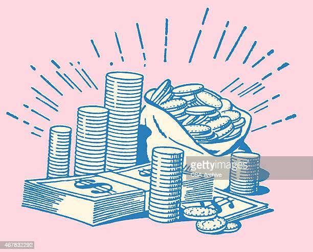 ilustraciones, imágenes clip art, dibujos animados e iconos de stock de brillante pila de monedas y de facturas - bolsa de dinero