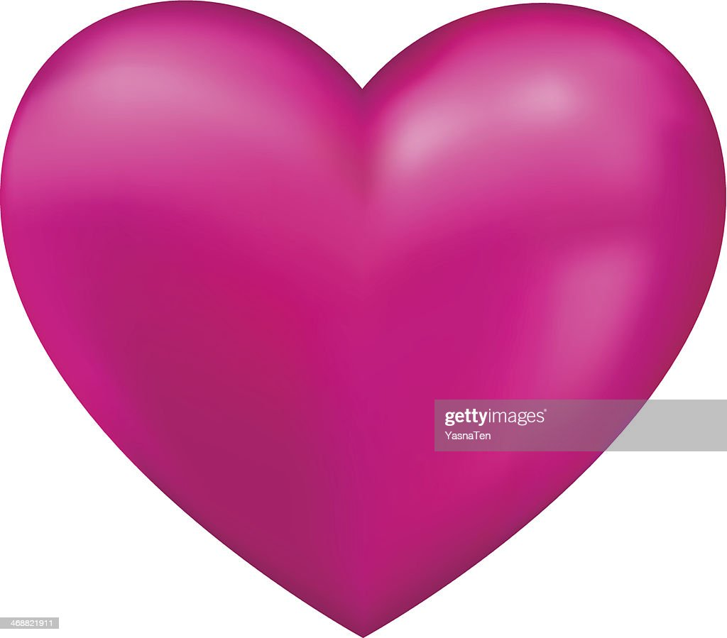 Shiny pink 3D vector heart isolated on white background