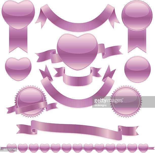 光輝くピンクのハート、リボン、ステッカーセット - サッシュ点のイラスト素材/クリップアート素材/マンガ素材/アイコン素材