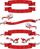 Shiny Red Metallic Satin Banners, Ribbons Set